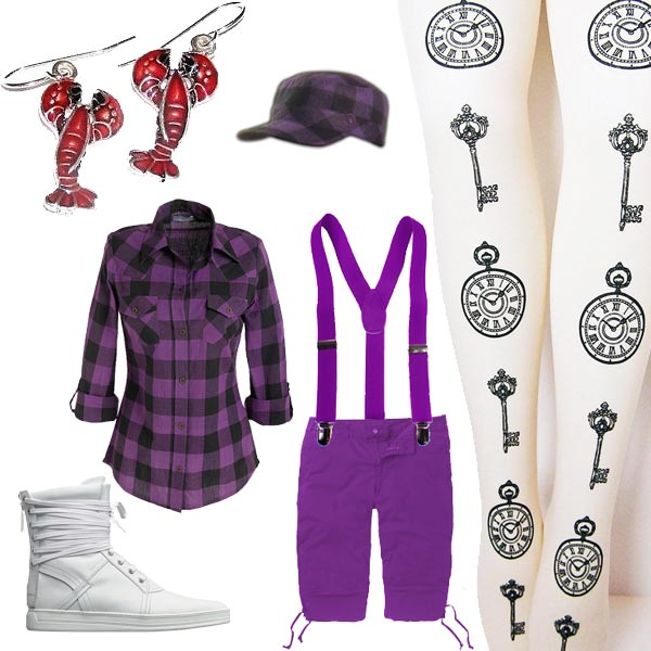 Claudia Kishi wearing purple pants held up with suspenders, white tights with clocks on them, purple-plaid shirt with a matching hat, hightop sneakers, lobster earrings.