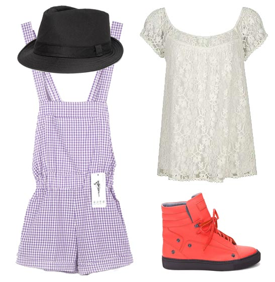 Claudia Kishi wearing short, baggy lavender plaid overalls, white lacy blouse, black fedora, red high-top sneakers.