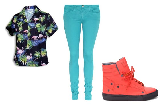 "Mary Anne skintight turquoise pants, Stacey's ""island"" shirt flamingos toucans, bright, red, high-top sneakers."