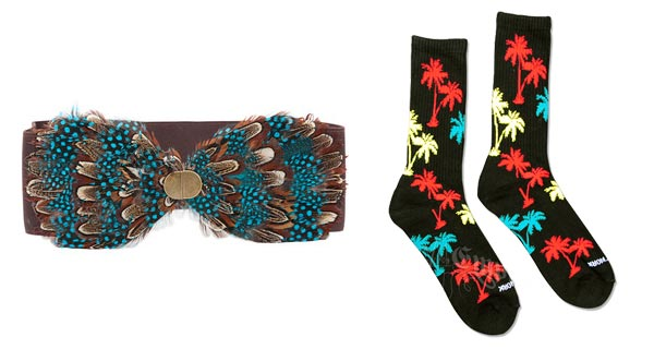 Claudia Kishi feather belt, palm tree knee socks