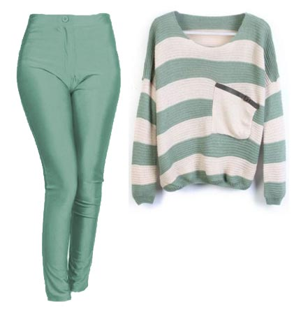 Dawn Schaefer green stretch pants green and white sweater