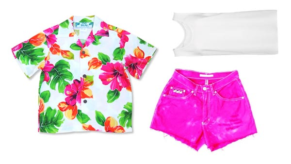 Dawn wearing hot-pink shorts, big, breezy island-print shirt, white tank top.