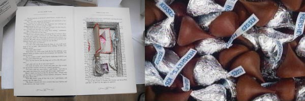 Claudia's hollowed-out book chocolate kisses