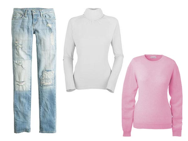 Kristy Thomas jeans white turtleneck pink sweater