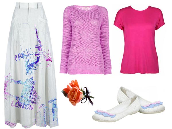 Mary Anne Spier wears famous cities skirt pink sweater lethal white shoes