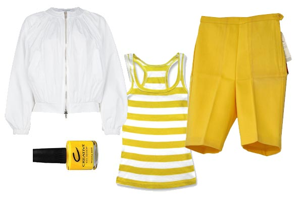 Mary Anne Spier wearing yellow pedal pushers, yellow and white striped tank top, oversized white jacket
