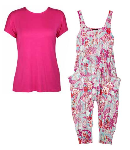 Stacey McGill jumpsuit red pink flowers pink shirt.
