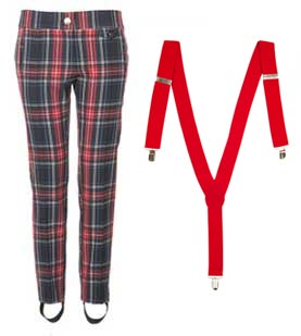 Stacey McGill plaid pants red suspenders