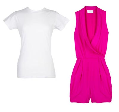 Stacey McGill white t-shirt hot pink jumpsuit