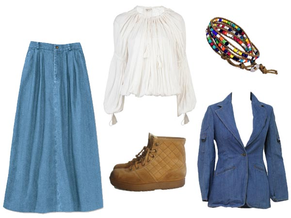 Ashley Wyeth wearing puffy white blouse, blue-jean jacket, long blue-jean skirt, hiking boots, beaded bracelets, strip of denim headband