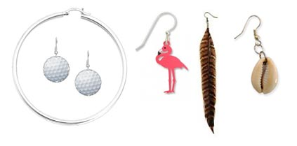 Ashley Wyeth earrings - two golf balls, hoop, seashell, real feather, dangly flamingo