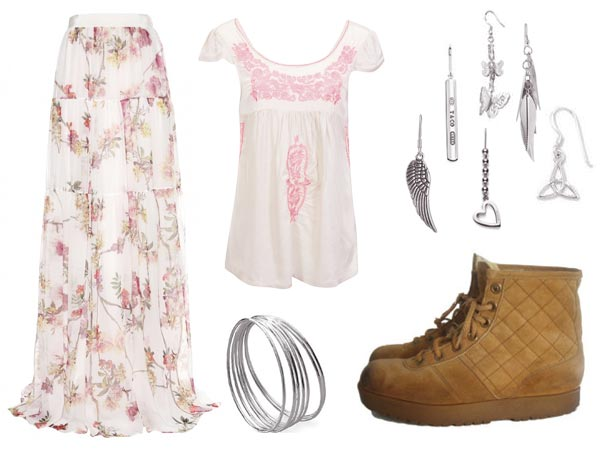 Ashley Wyeth wearing long pretty pink flowered skirt, blouse, loose and lacy, was embroidered with pink flowers, silver bracelets, hiking boots, six earrings
