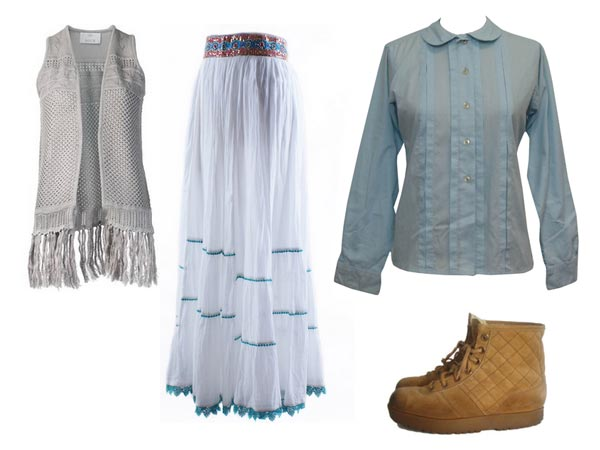 Ashley Wyeth wearing a long knitted vest, longer shirt, skirt that didn't match either the vest or shirt, hiking boots