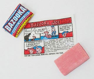 Bazooka bubble gum in Claudia's junk food stash