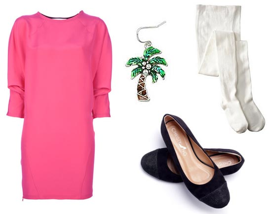Claudia Kishi wearing short pink cotton dress, white tights, and black ballet slippers, big palm tree earring