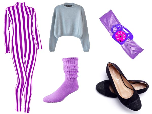 Claudia wearing purple-and-white striped bodysuit, gray jumper-thing, purple push-down socks, wide purple belt with telephone buckle, black ballet slippers