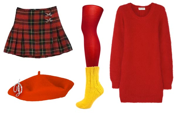 Dawn wearing very short kilt, oversized red sweater, yellow socks over red tights, red beret, sparkly initial pin