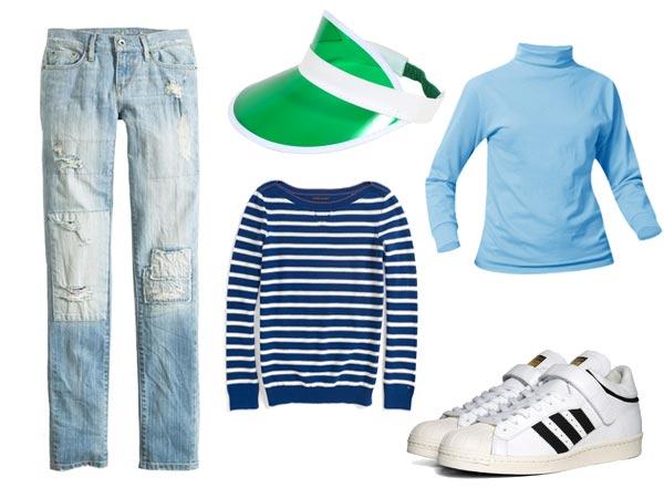 The Kristy Thomas uniform - turtleneck, jeans, sweater, visor, sneakers