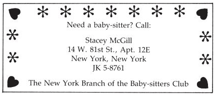 Stacey McGill, New York branch of the Baby-Sitters Club