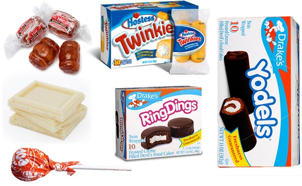 white chocolate and root beer barrels and Twinkies and Ring Dings and Yodels and Tootsie Pop