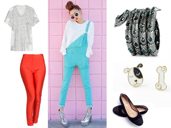 Claudia tight pants ballet slippers sequin torn t-shirt coiled snake bracelet overalls high-top sneakers dog and bone earrings.
