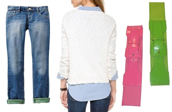 Dawn Shaefer wearing rolled cuff jeans shirt tails out big belts.
