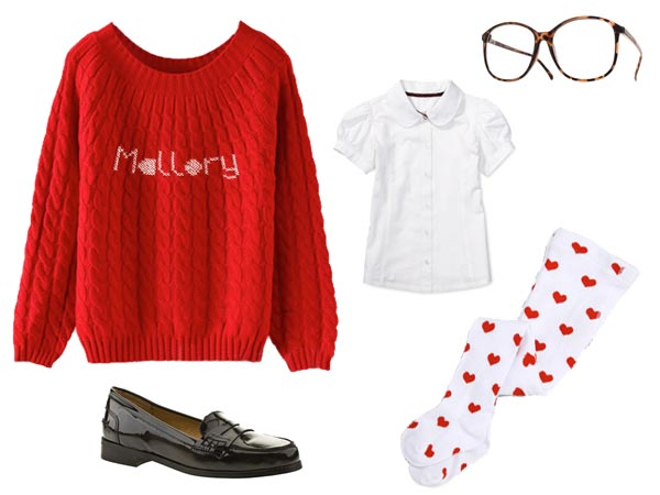 Mallory outfit red jumper white tights red hearts penny loafers.