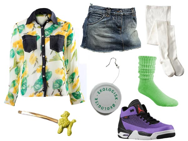 Claudia Kishi wearing vegetable shirt short jean skirt white tights green anklets lavender boy sneakers poodle hairclip and jarlid earring