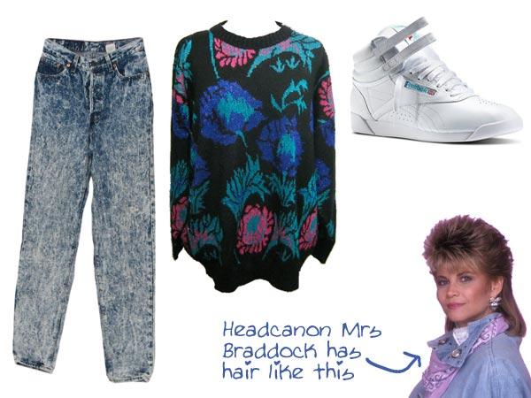 Mrs Braddock jeans baggy sweater and Reeboks