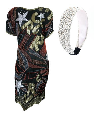 Claudia Kishi black sleek outfit silver stars and sparkles white beaded headband