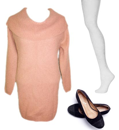 Dawn Shaefer peach sweater dress lacy white stockings black ballet slippers