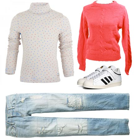 Kristy Thomas white turtleneck hearts red sweater jeans sneakers