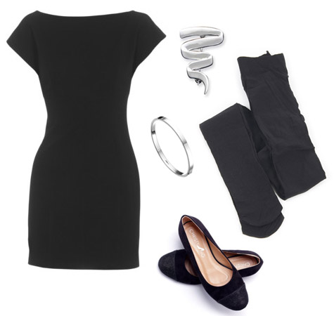 Laine Cummings black dress black stockings black flats silver bangle squiggle pin