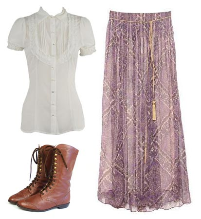 Mary Anne Spier ruffly white blouse, long paisley skirt, brown boots