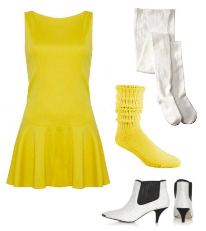 Stacey McGill short yellow dress flared white stockings yellow push down socks and shoes that parents hate