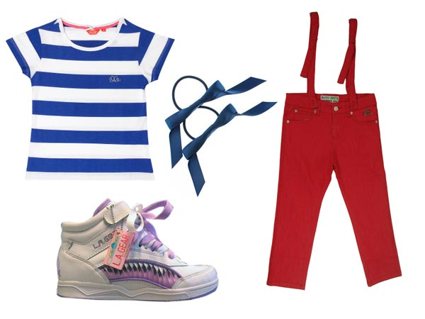 Betsy Sobak snazzy red pants suspenders, blue and white striped shirt, cuffs and shoes with purple laces