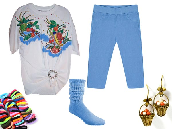 Claudia Kishi wearing hand painted shirt, blue pants, push down socks, puffy ponytail holders, basket of fruit earrings