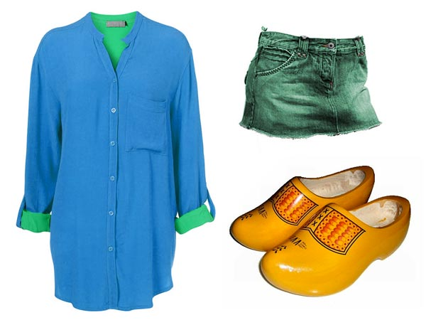 Dawn Shaefer wearing blue and green shirt, green skirt, clogs
