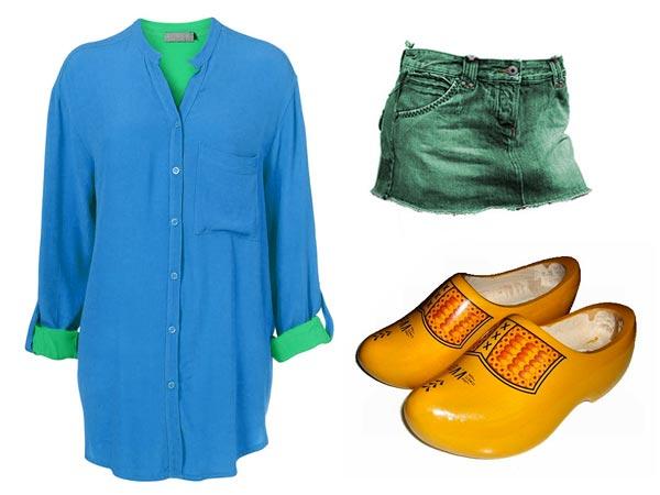 Dawn Shaefer wearing blue and green shirt, green skirt, clogs