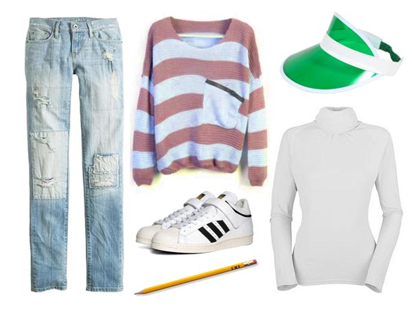 Kristy Thomas jeans white turtleneck pink and blue sweater, sneakers, visor, pencil