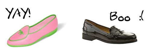 Mallory Pike, pink shoes with green trim vs loafers