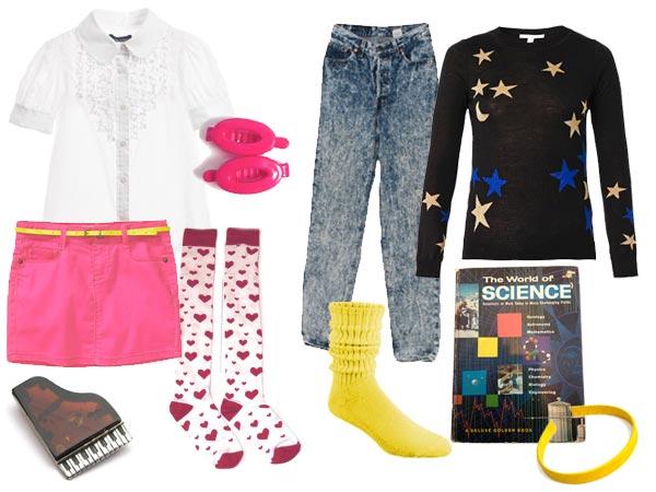 Marilyn and Carolyn Arnold white ruffly shirt pink skirt heart knee socks, pink barettes, piano pin, star and moon sweatshirt, jeans, yellow push down socks, science book.