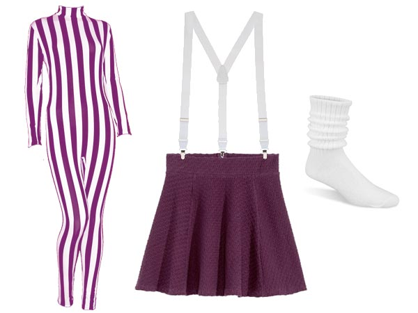 Mary Anne Spier in plum and white body suit, plum skirt, white suspenders, push down socks